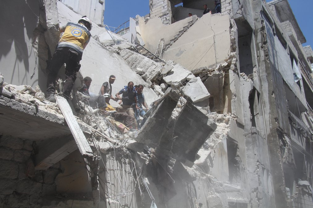 A rescue operation in Ariha city, south Idlib