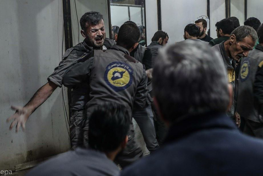 Harrowing scenes following an attack on a centre in Eastern Ghouta